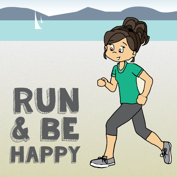 Run and be happy. Original drawing of girl running along the beach.
