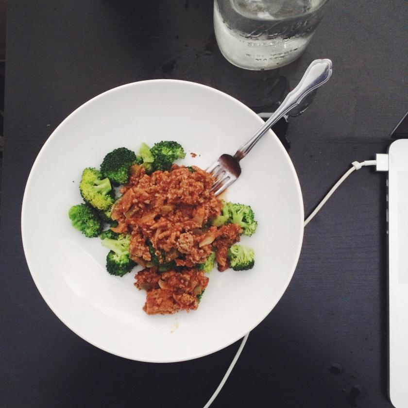 Bolognese served over broccoli
