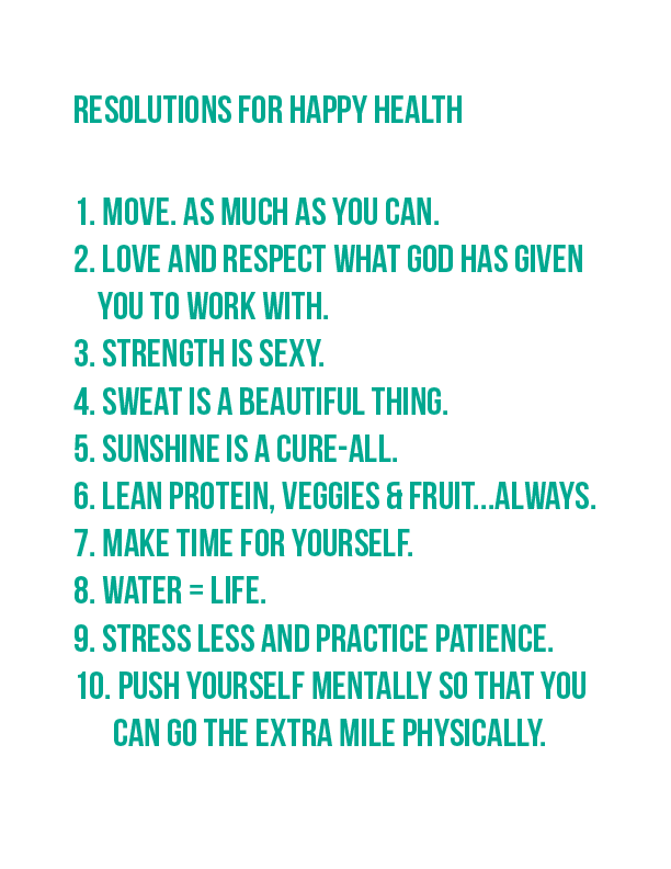 My Resolutions for Happy Health