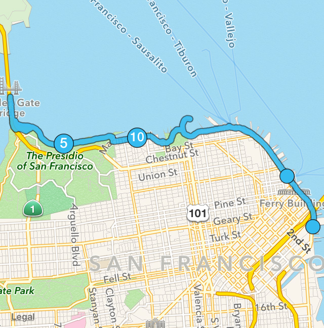 My 14 mile route through San Francisco