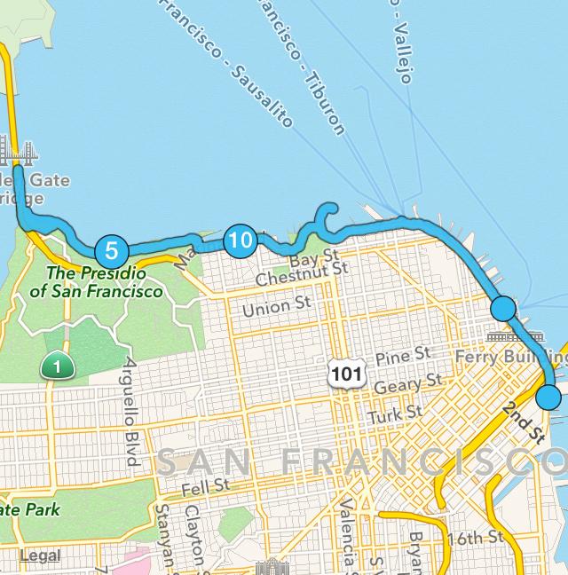 My 14 mile route through San Francisco