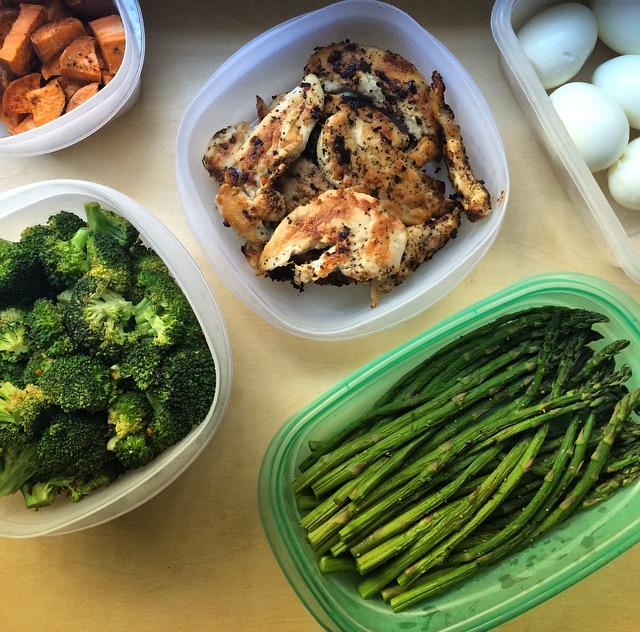 Meal prep - chicken, broccoli, asparagus, sweet potato, and egg