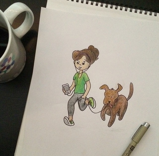 girl running with dog drawing