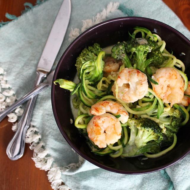 Zucchini Noodle Shrimp & Broccoli Alfredo