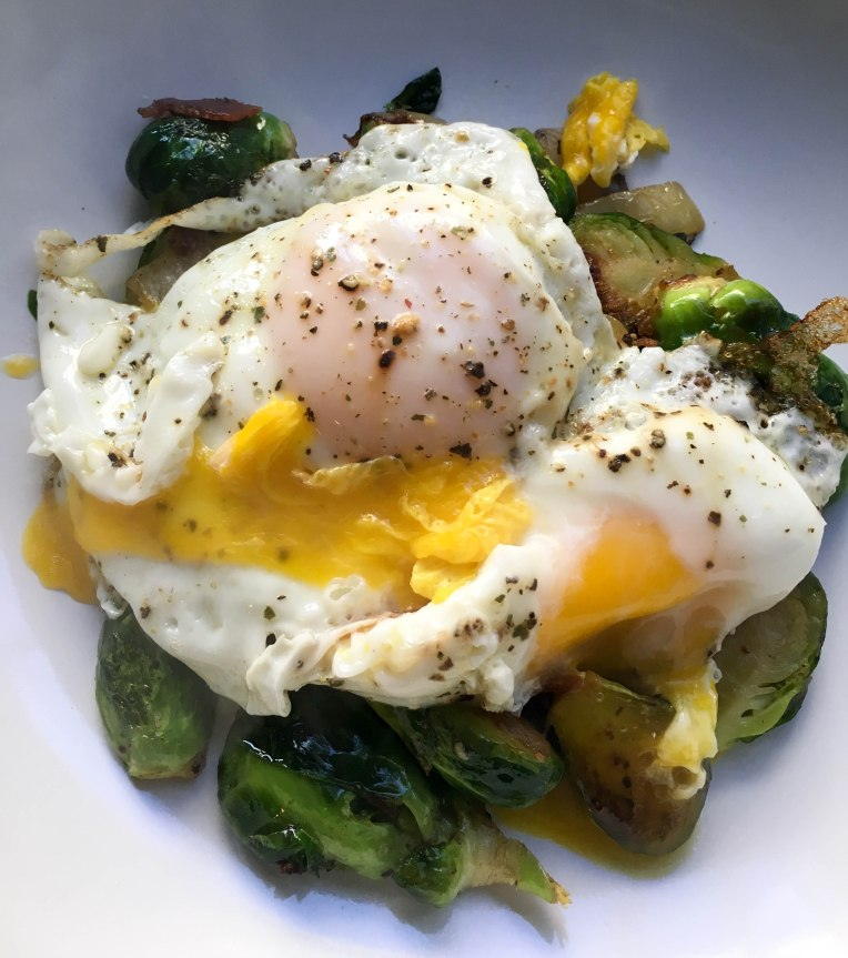 Brussels sprouts, bacon, and egg dish that is paleo and Whole 30 approved