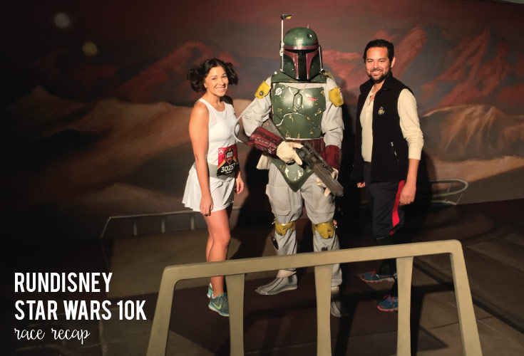 Dressed as Princess Leia and Han Solo, enjoying a RunDisney Star Wars 10K photo opp with Boba Fett in Disneyland