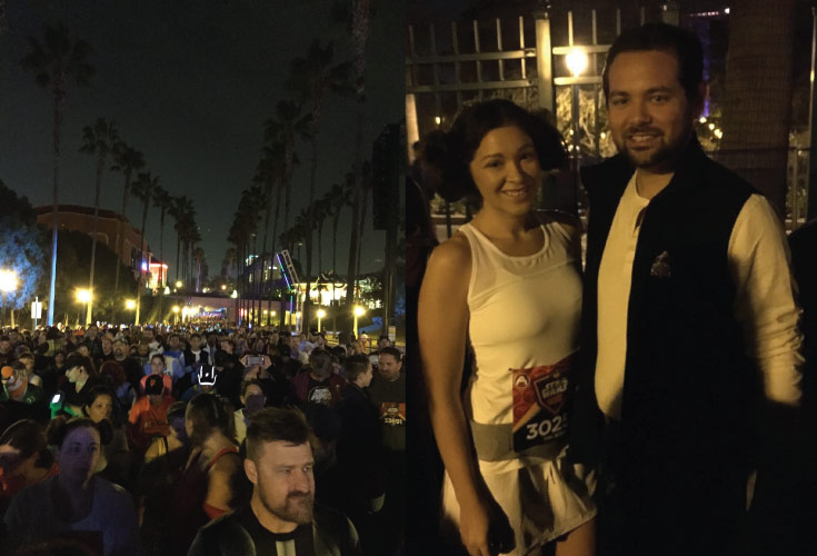 Michel and Melissa waiting at the runDisney star wars 10k start line