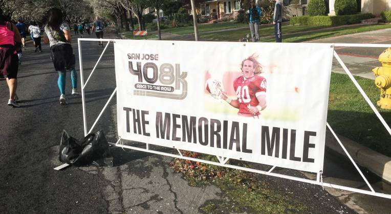 The San Jose 408K Memorial Mile Sign