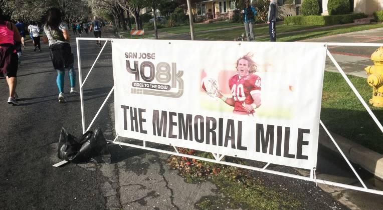 The San Jose 408K Memorial Mile Sign