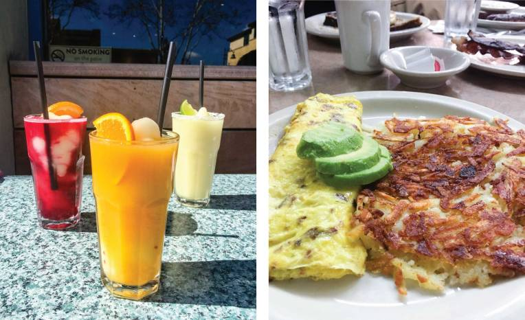 Swirls from Aqui Cal-Mex and an omelette and hashbrowns from Bill's Cafe in Willow Glen