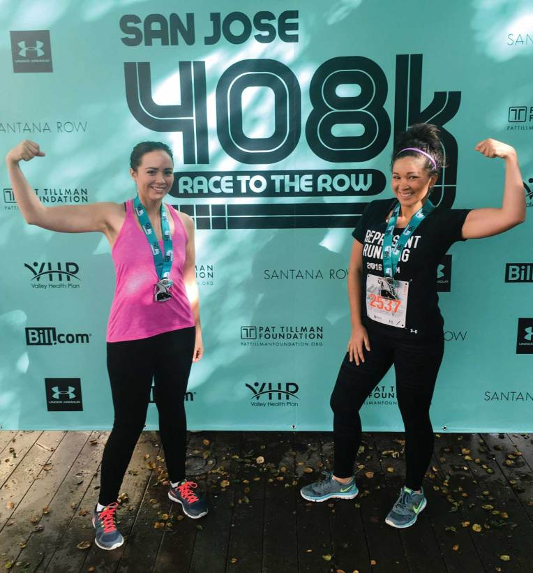 Posing with our medals after finishing the San Jose 408K Race to the Row