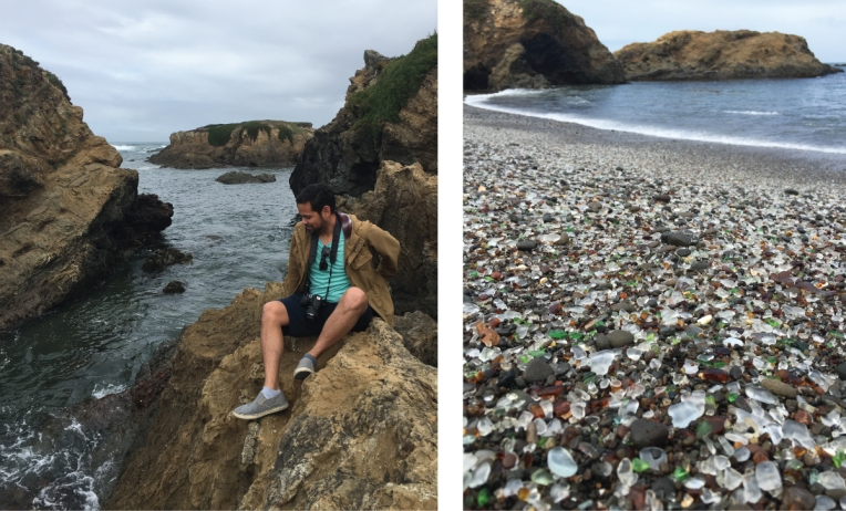 Climbing rocks and exploring Glass Beach along the Mendocino Coast